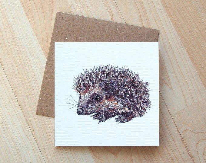 Hedgehog illustration Greetings Card printed on eco friendly card.