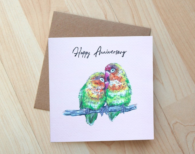 Lovebirds Anniversary illustration greetings card printed onto eco friendly card