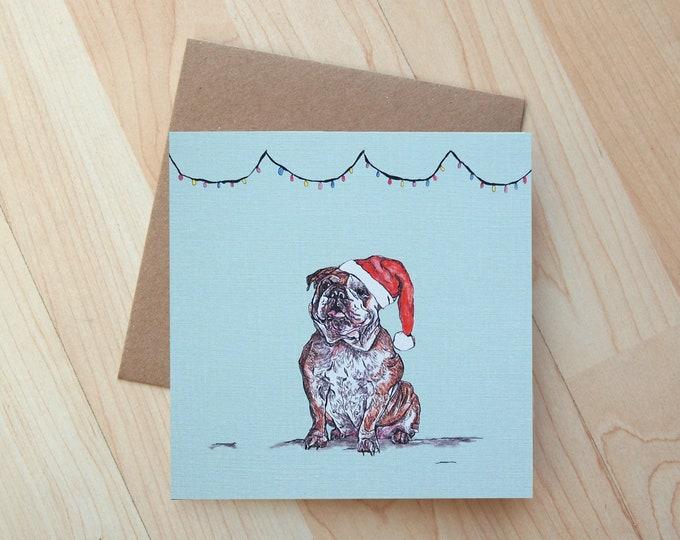 Bulldog Illustration Christmas card printed onto eco friendly card