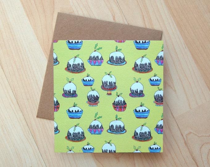 Christmas Pudding Christmas card printed onto eco friendly card