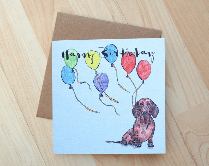 Sausage Dog Birthday Card printed on eco friendly card