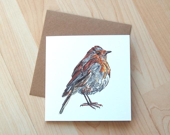Robin illustration Greetings Card printed onto eco friendly card