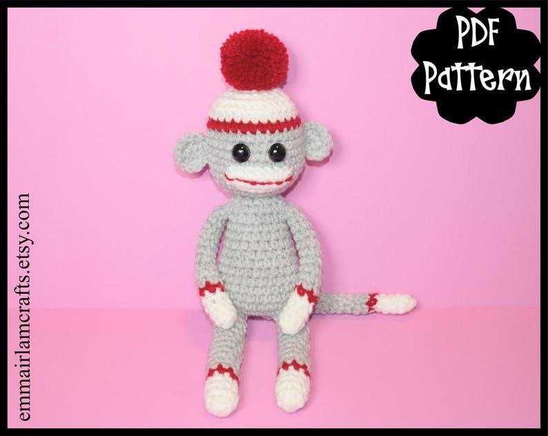 Mini Sock Monkey Crochet Pattern Sock Monkey Amigurumi Etsy