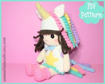Doll Crochet Pattern, Unicorn Girl Doll, Amigurumi Doll, Unicorn Amigurumi, Unicorn Plush, Unicorn Plushie, Unicorn Toy, Crochet Doll,