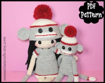 Sock Monkey Crochet Doll Patterns, Crochet Doll Pattern, Mini Sock Monkey Crochet Pattern, Sock Monkey Amigurumi, Amigurumi Pattern, Monkey,