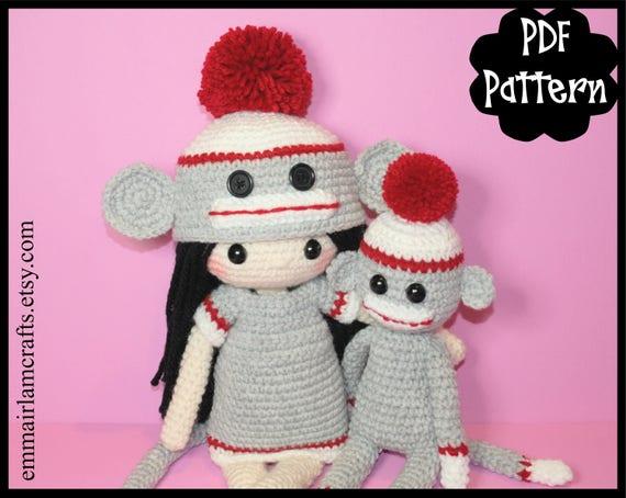 Crochet Along Amigurumi Sock Monkey | 454x570