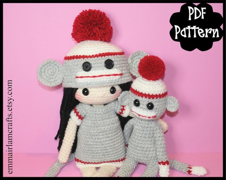 Sock Monkey Crochet Doll Patterns Crochet Doll Pattern Mini Etsy