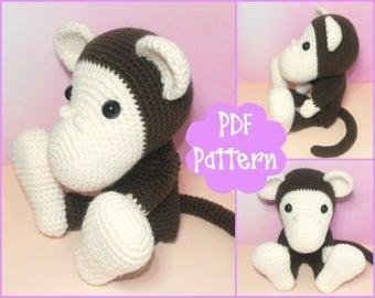 PDF - Monkey Crochet Pattern, Monkey Amigurumi, Amigurumi Pattern, Monkey Plush, Monkey Plushie, Monkey Toy, Crochet Toy, Amigurumi Tutorial