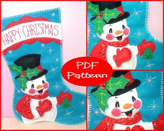 PDF Pattern - Felt Snowman, Christmas Stocking Pattern, Christmas ...