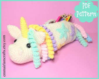 PDF - Unicorn Crochet Pattern, Pencil Case, Unicorn Pencil Case, Amigurumi Pattern, School Bag, Unicorn Plushie, Crochet Pencil Case,
