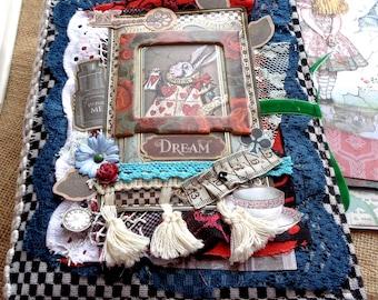 Alice in Wonderland boho chic junk journal, Stamperia paper
