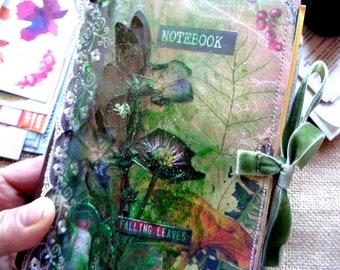 Botanical autumn junk journal, Flower press travel journal