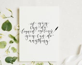 Funny calligraphy print - If you can do liquid eyeliner you can do anything - Printed on paper made from recycled materials - makeup print