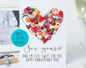 6th anniversary card - sugar wedding anniversary - I'm still sweet for you sugar pun