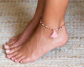 Stretch Anklet Beach Anklet Minimal Beaded Anklet With Tassel Anklet For Girls Ankle Bracelet For Girls