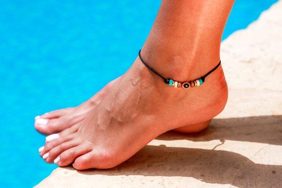 Surfer Anklet Lava Rock and Wood ankle bracelet,Beach Anklet Foot Ankle Bracelet Boho Anklet Anklet Lava and Wood Bead Ankle Unisex anklet