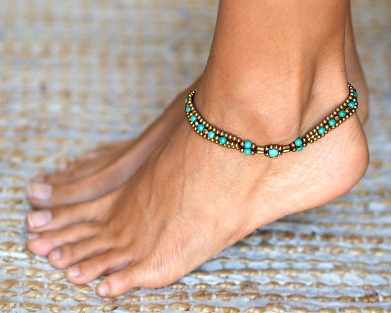 Turquoise Anklet // Turquoise Ankle Bracelet // Anklets For image 0