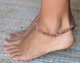 Rose Quartz Anklet // Rose Quartz Ankle Bracelet  // Beach Anklets // Ankle Bracelet // Summer Anklet // Summer Jewelry
