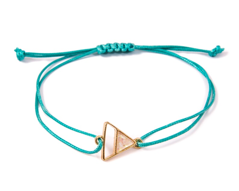fb51e8bfe3a4b Minimalist turquoise string bracelet with metal triangle and quartz charm.  Adjustable cotton rope bracelet for women