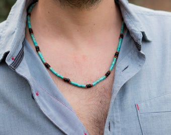 Men's Necklace // Turquoise Beads Necklace For Men // Traveling Necklace // Beads Necklace For Men // Turquoise Necklace // Tribal Necklace