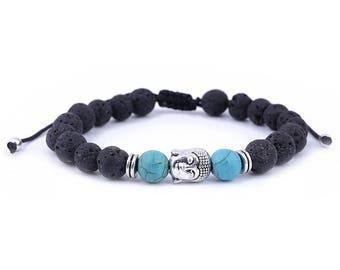 Buddha Bracelet // Lava Stone Bracelet // Yoga Bracelet // Buddha Charm Bracelet // Bracelet Buddha // Black Lava Bracelet // Stone Bracelet