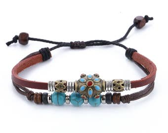 Leather Bracelet For Women // Turquoise Bracelet // Hippie Bracelet // Tribal Bracelet // Women Leather Bracelet // Women Bracelet