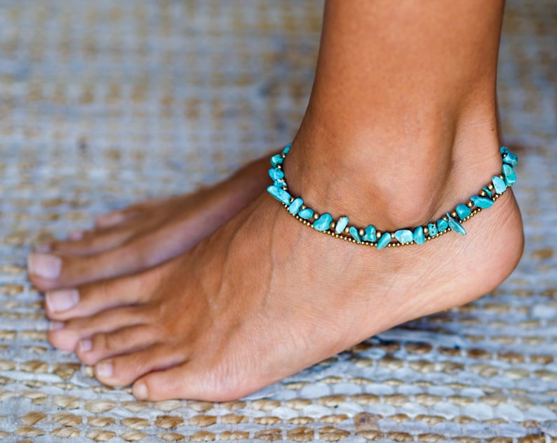 Turquoise Anklet // Turquoise Ankle Bracelet For Women // image 0