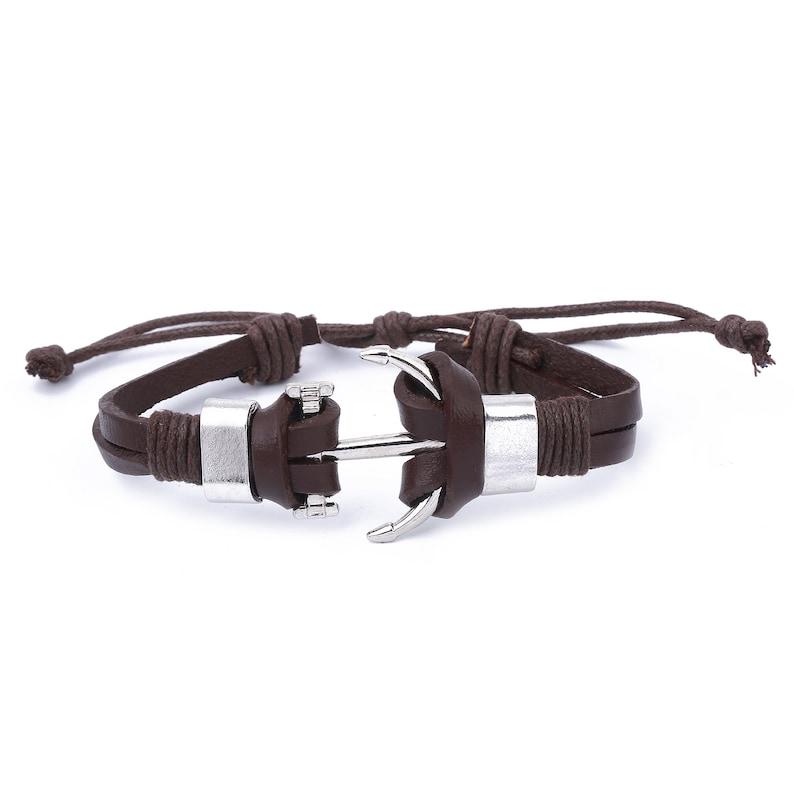 Leather Wrap Bracelet  Brown Mens Anchor Bracelet  Mens Leather Bracelet  Leather Men Bracelet  Men Leather Cuff  Bracelet For Men