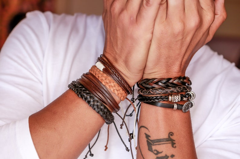Boho Bracelet Mens Bracelet  Mens Leather Bracelet  Leather Cuff  Bracelet Homme  boyfriend gift  Husband Gift  Mens Bracelet Leather