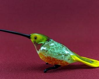 Glass Hummingbird figurine, Glass animals, Hand blown glass, Glass sculpture, Fused glass, Murano glass, Bird sculpture, Home decor