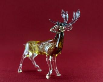 Color Glass. deer Figurine. deer. Figurine. Glass Figurine. Glass Animal .Sculpture. Glass Art. deer Figure. deer Figure.christmas deer