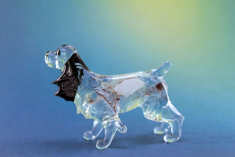 Color Glass Russian Spaniel Figurine.Dog Figurine Glass.Figure image 0