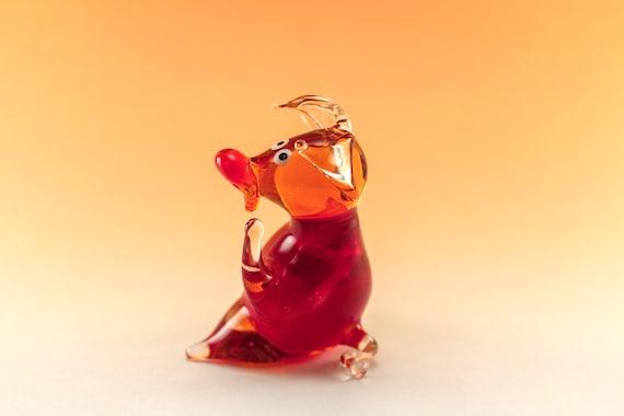 """Blown Glass Figurine /""""Murano/"""" Art Red Baby DRAGON"""