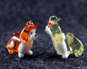 Color Glass Shih Tzu dog Figurine.Dog Figurine Glass.Figure miniature.glass lampwork.glass dog sculpture.dog figurine.glass animals