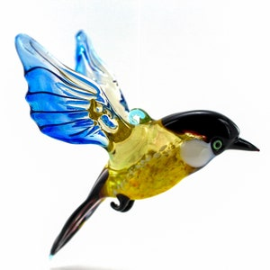 Finland Art Glass Team bird in yellow white brown and copper