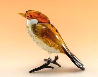 Sparrow glass figurine, Glass animals, Hand blown glass, Glass sculpture, Fused glass, Murano glass, Bird sculpture, Lampwork, decor