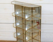 Large Vintage Brass and Glass with Mirrored Back Curio, Collectables or Miniatures Display Case, Vitrine, Cabinet