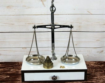 Vintage, Chrome, Pharmacy Jewellers Balance Beam or Weighing Scales of Justice with Pans and Weights