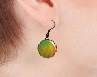 Green bridesmaid earrings, Dainty dangle earrings, Glass dome dangle earrings, Antique bronze or silver earrings, Boho jewelry, 5092-2