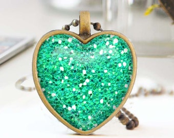 Mint green heart necklace, Glitter heart necklace, Long bronze necklace, Heart pendant, Love Gift for mon, Glass dome jewelry, 5052-S09