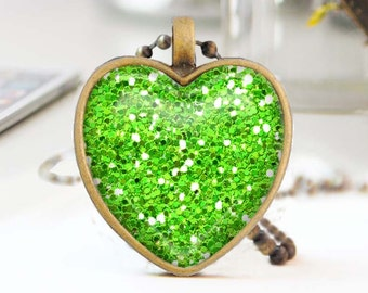 Green heart necklace, Glitter heart necklace, Long bronze necklace, Heart pendant, Love Gift for mon, Glass dome jewelry, 5052-A06