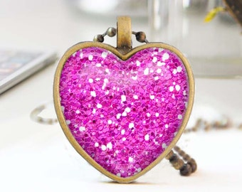 Hot pink heart necklace, Glitter heart necklace, Long bronze necklace, Heart pendant, Love Gift for mon, Glass dome jewelry, 5052-S08
