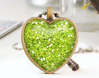 Chartreuse heart necklace, Glitter heart necklace, Long bronze necklace, Heart pendant, Love Gift for mon, Glass dome jewelry, 5052-S17