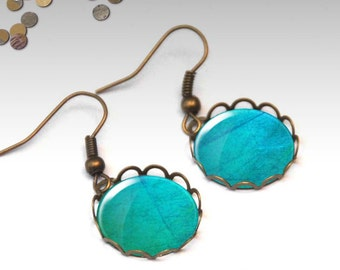 Turquoise earrings, Dainty dangle earrings, Bridesmaid gift, Cabochon earrings, Antique bronze or silver earrings, Boho jewelry, 5092-3