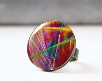 Large Photo Ring, Cabochon ring,  Ring, Statement Ring, Wearable Art, Abstract Original Art, 5003-6