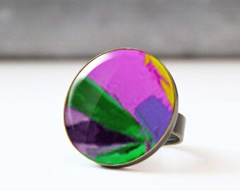 Picture Ring, Photo Ring, Large Statement Ring, Wearable Art, Cabochon ring,  Abstract Jewelry, Original Art, 5003-3