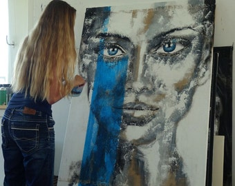 """most of the time....  40 x 55"""" inch  Portrait black & white with blue  extra large wall art"""
