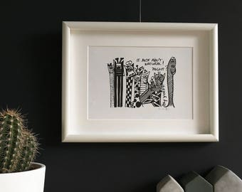 Limited Edition. Giraffes. Black and white print. ' It just ain't natural! Right? '