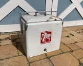 Vintage 7 Up Cooler Metal 1950s 7up Soda Advertising Ice Chest
