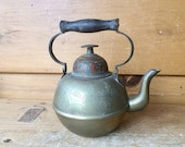Antique Brass Teapot Etched Bell In Lid China